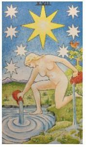 タロットカードの星が水をくんでくる