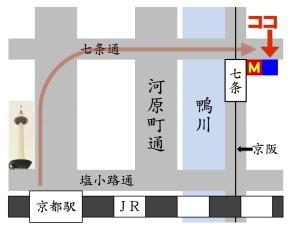 京都の占い処Key&Doorへの地図