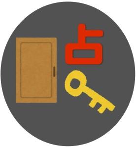 扉と鍵と占を使ってロゴを作る