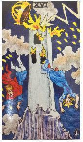 大アルカナの塔に落雷があり手相占い師が光る