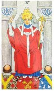 大アルカナ5番のhierophant(司祭)がタロット占いをしている