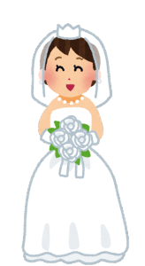 花嫁がブーケトスをする