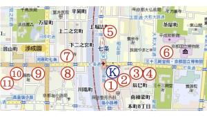 京都駅と京阪七条近辺の駐車場マップ